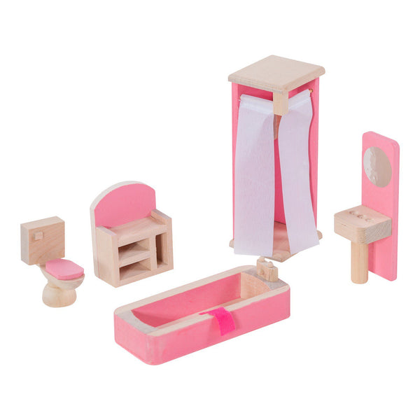 Eliiti Miniature Wooden Furniture Dollhouse Pretend Play Toys for Toddlers Girls Kids 3-7 Years Old Bathroom 5 Pcs