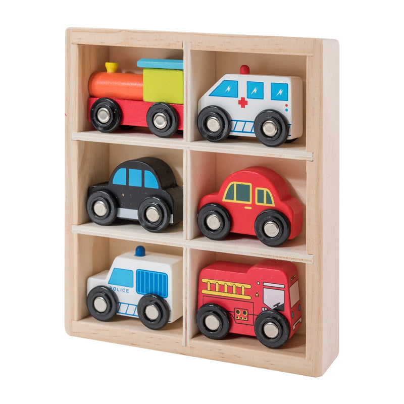 Eliiti Miniature Wooden Vehicles Toys for Toddlers Boys Kids 3-6 Years Old 6 Pcs