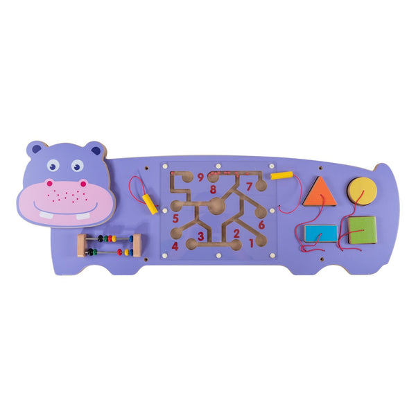 Eliiti Wall Hanging Wooden Multi-Functional Shape Sorting Maze Puzzle for Toddlers Kids 3-6 Years Old Hippo