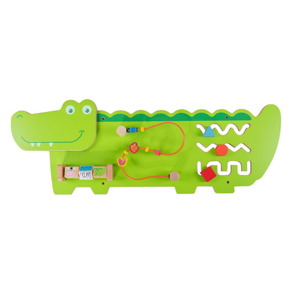 Eliiti Wall Hanging Wooden Multi-Functional Beads Puzzle for Toddlers Kids 3-6 Years Old Crocodile