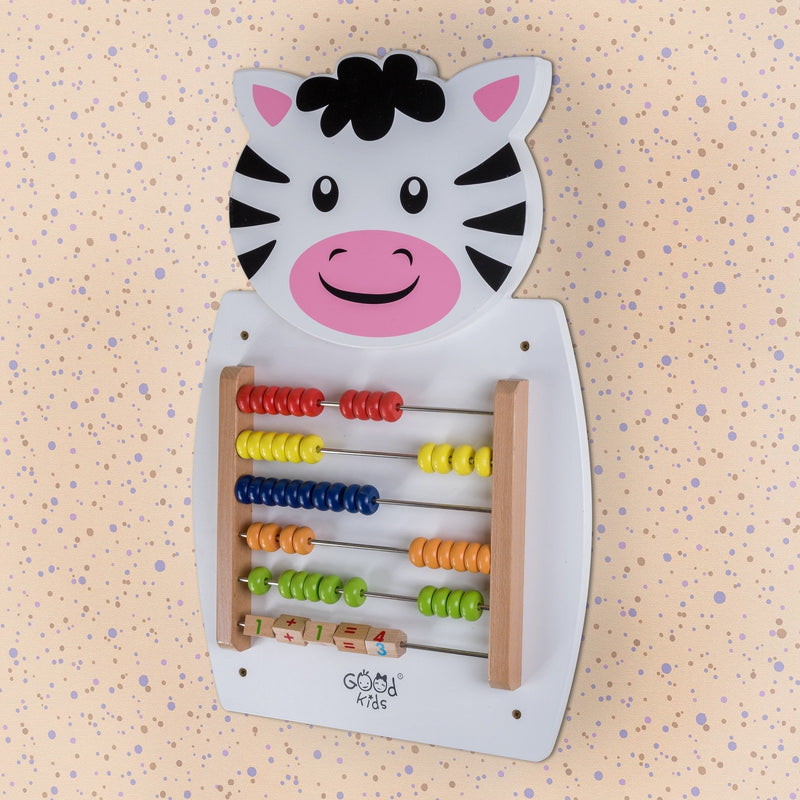 Eliiti Wall Hanging Wooden Multi-Functional Abacus Puzzle for Toddlers Kids 3-6 Years Old Zebra