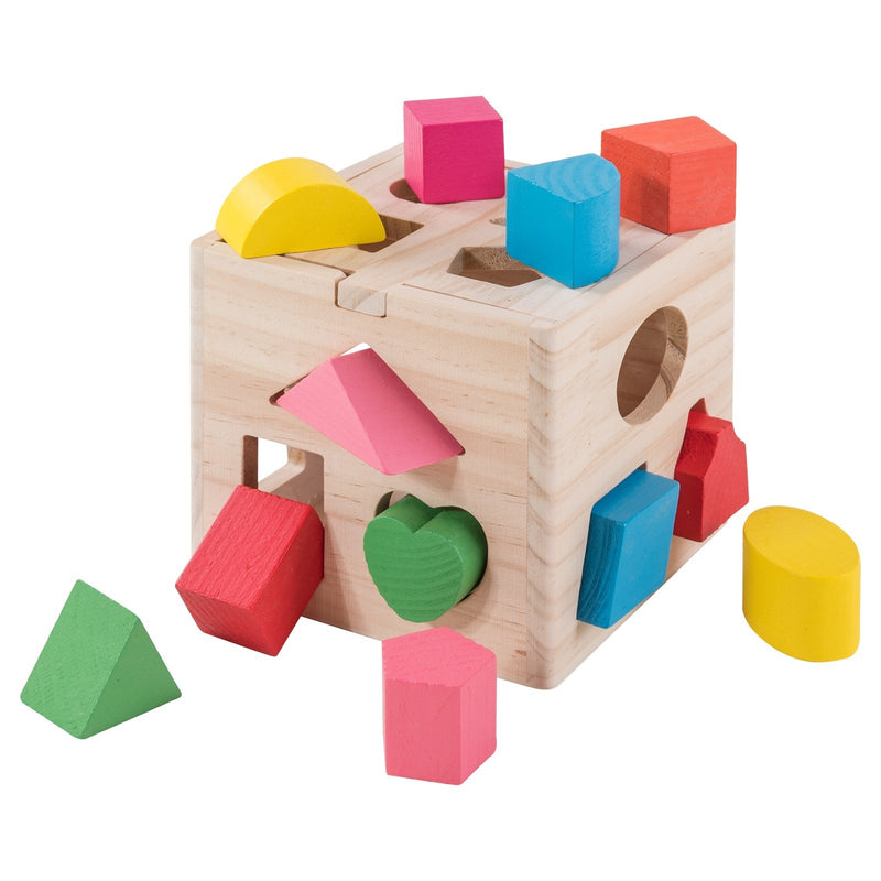 Eliiti Wooden Shape Sorting Cube Puzzle Toy for Toddlers Kids 3-6 Years Old Geometric 13 Pcs