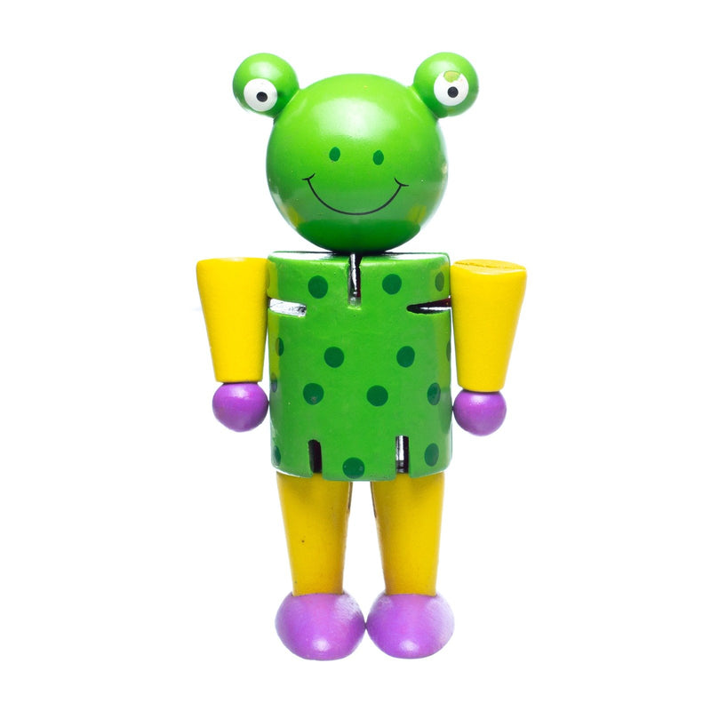 Eliiti Wooden Flexible Figures Toy for Toddlers Kids 3 to 5 Years Old Frog