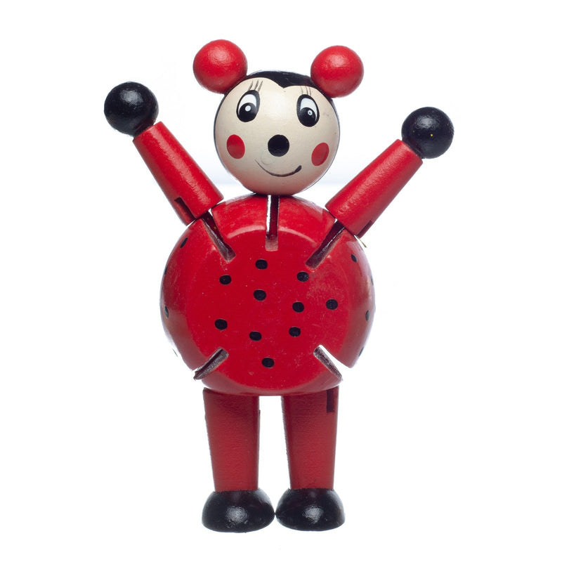 Eliiti Wooden Flexible Figures Toy for Toddlers Kids 3 to 5 Years Old Ladybug
