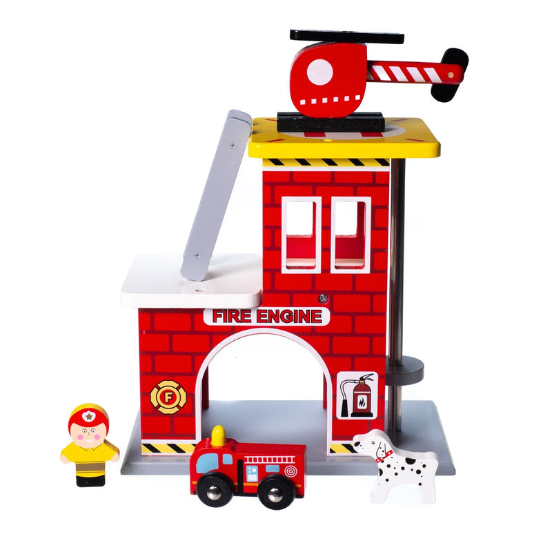 Eliiti Wooden Fire Department Pretend Play Toy for Toddlers Boys Kids 2-4 Years Old 5 Pcs