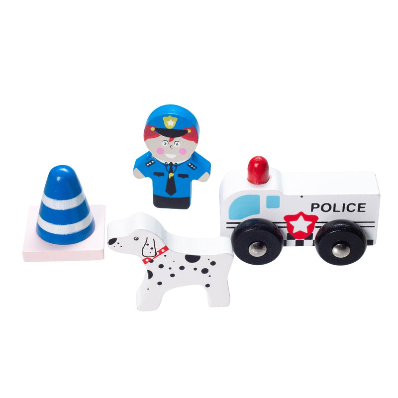 Eliiti Wooden Police Department Pretend Play Toy for Toddlers Boys Kids 2-4 Years Old 5 Pcs