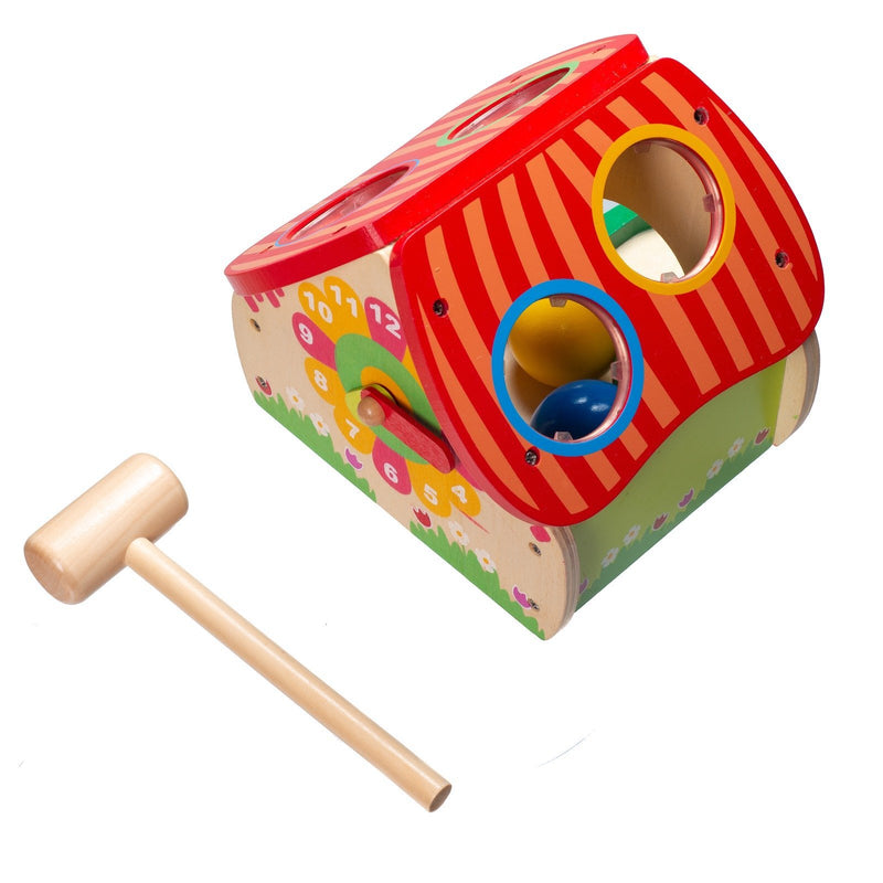 Eliiti 2-in-1 Wooden Pounding & Clock Developmental Toy with 1 Mallet for Baby Toddlers 1 to 2 Years Old