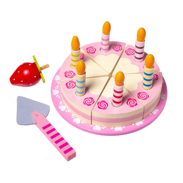 Eliiti Wooden Cutting Birthday Cake Pretend Food Play Educational Toy for Kids Girls 3-5 Years Old
