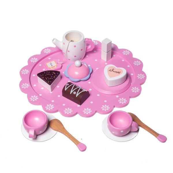 Eliiti Wooden Tea Cups & Cakes Pretend Food Play Educational Toy for Kids Girls 3-5 Years Old