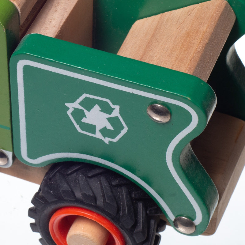 Eliiti Wooden Vehicles Trash Truck Toy for Toddlers Boys Kids 3 to 6 Years Old