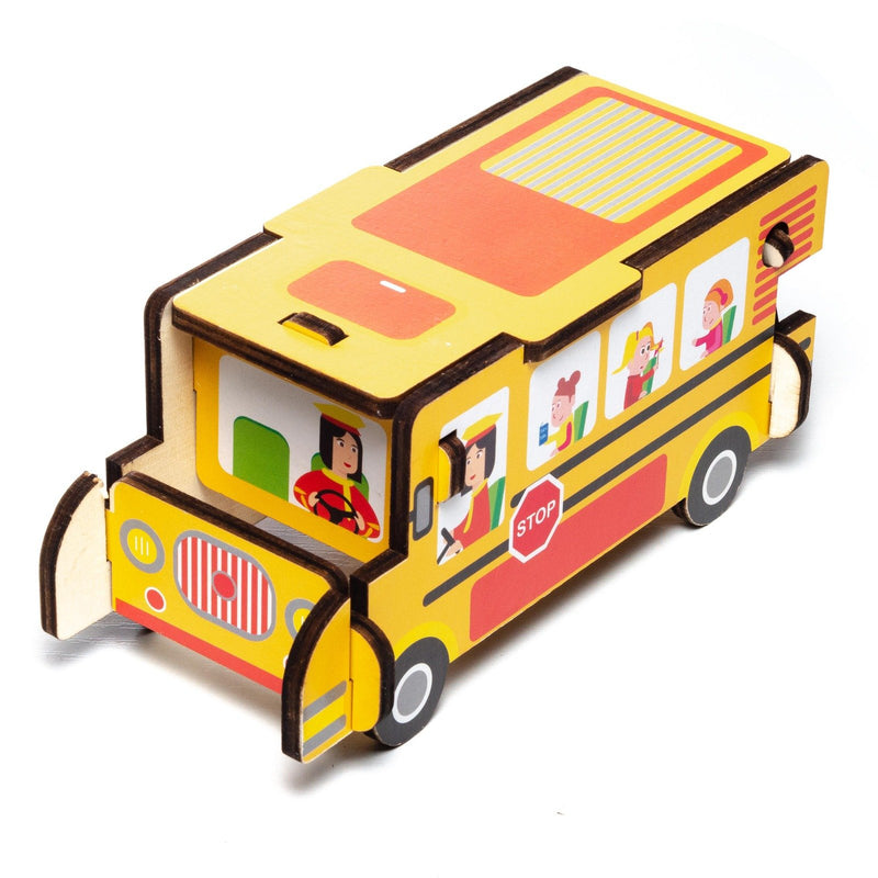 Eliiti Easy-to-Assemble Wooden School Bus 3D Vehicle Puzzle for Toddlers Boys Kids 3 to 6 Years Old 7 Pcs