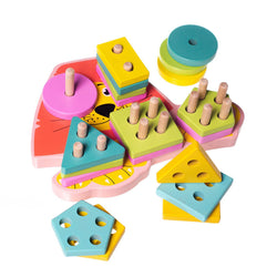 Eliiti Wooden Geometric Stacking Shape Sorting Puzzle Educational Toy for Toddlers Kids 2 to 4 Years Old Lion 20 Pcs