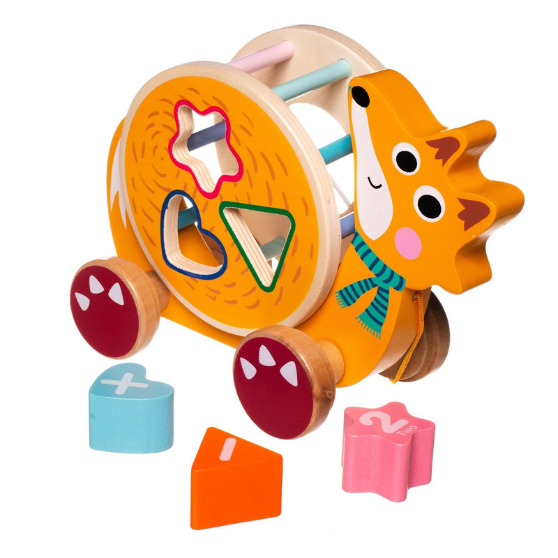 Eliiti Wooden Shape Sorting Puzzle & Pull Toy for Toddlers 1 to 2 Years Old Fox 5 Pcs
