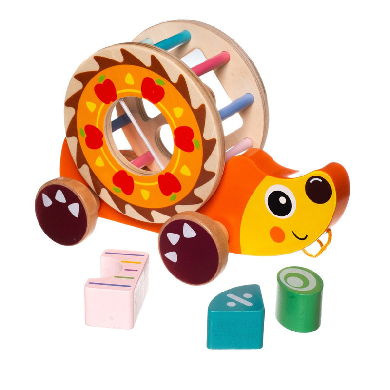 Eliiti Wooden Shape Sorting Puzzle & Pull Toy for Toddlers 1 to 2 Years Old Hedgehog 5 Pcs