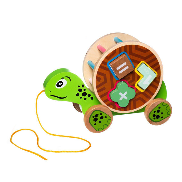 Eliiti Wooden Shape Sorting Puzzle & Pull Toy for Toddlers 1 to 2 Years Old Turtle 5 Pcs