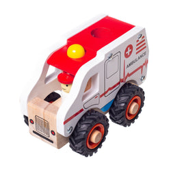 Eliiti Wooden Vehicle Ambulance Toy for Toddlers Boys Kids 3 to 6 Years Old