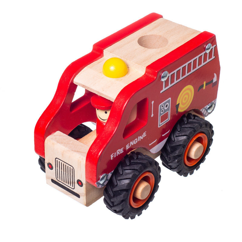 Eliiti Wooden Vehicles Fire Engine Toy for Toddlers Boys Kids 3 to 6 Years Old