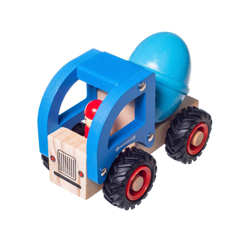 Eliiti Wooden Vehicles Concrete Mixer Truck Toy for Toddlers Boys Kids 3 to 6 Years Old