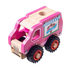 Eliiti Wooden Vehicles Ice Cream Truck Toy for Toddlers Boys Kids 3 to 6 Years Old