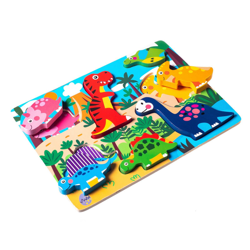 Eliiti Wooden Chunky Puzzle for Toddlers Kids 2 to 4 Years Old Dinosaurs 7 Pcs
