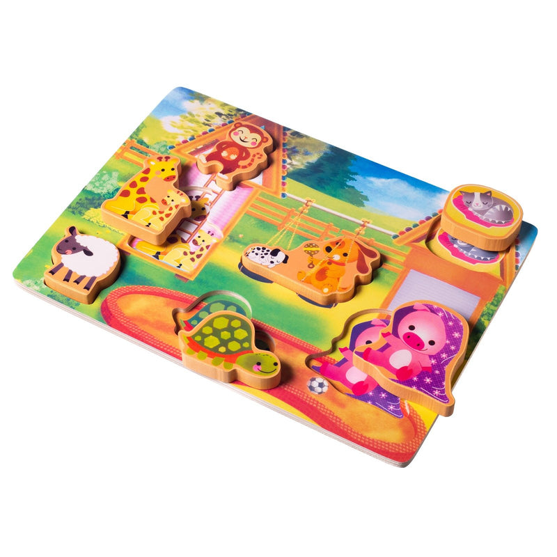 Eliiti Wooden Chunky Puzzle for Toddlers Kids 2 to 4 Years Old Animals 7 Pcs