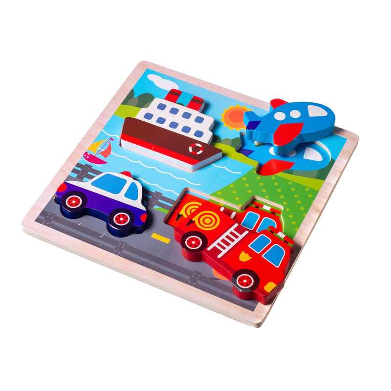Eliiti Wooden Chunky Puzzle for Toddlers Boys Kids 2 to 4 Years Old Vehicles 4 Pcs