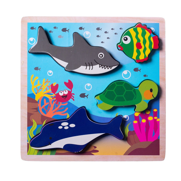 Eliiti Wooden Chunky Puzzle for Toddlers Kids 2 to 4 Years Old Sea Animals 4 Pcs