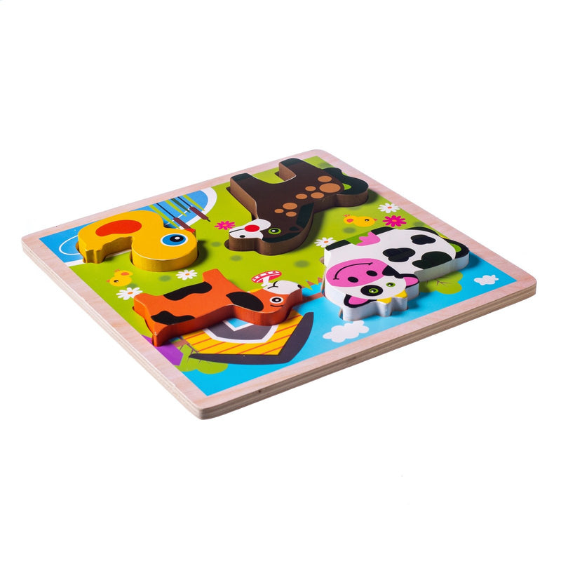 Eliiti Wooden Chunky Puzzle for Toddlers Kids 2 to 4 Years Old Farm Animals 4 Pcs