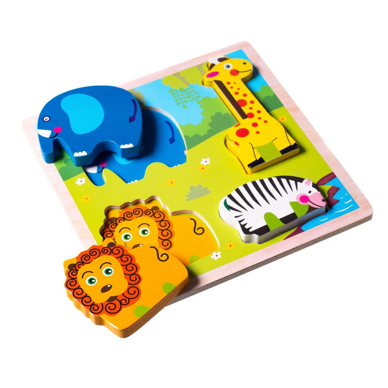 Eliiti Wooden Chunky Puzzle Set for Toddlers Kids 2 to 4 Years Old Vehicles Farm Safari Sea Animals
