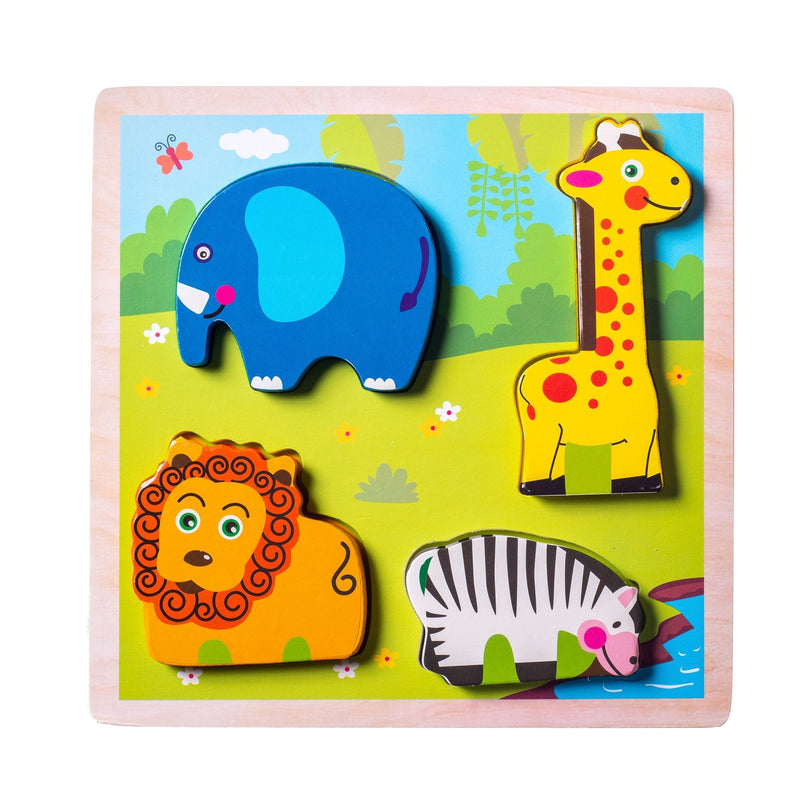 Eliiti Wooden Chunky Puzzle for Toddlers Kids 2 to 4 Years Old Safari Animals 4 Pcs
