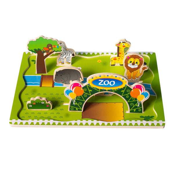 Eliiti Wooden Chunky 3D Puzzle for Toddlers Kids 3 to 5 Years Old Zoo Animals 8 Pcs