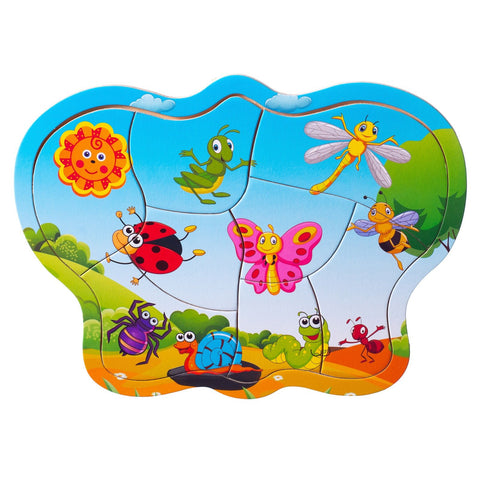 Eliiti Wooden Jigsaw Puzzle for Toddlers Kids 2 to 4 Years Old Insects 8 Pcs