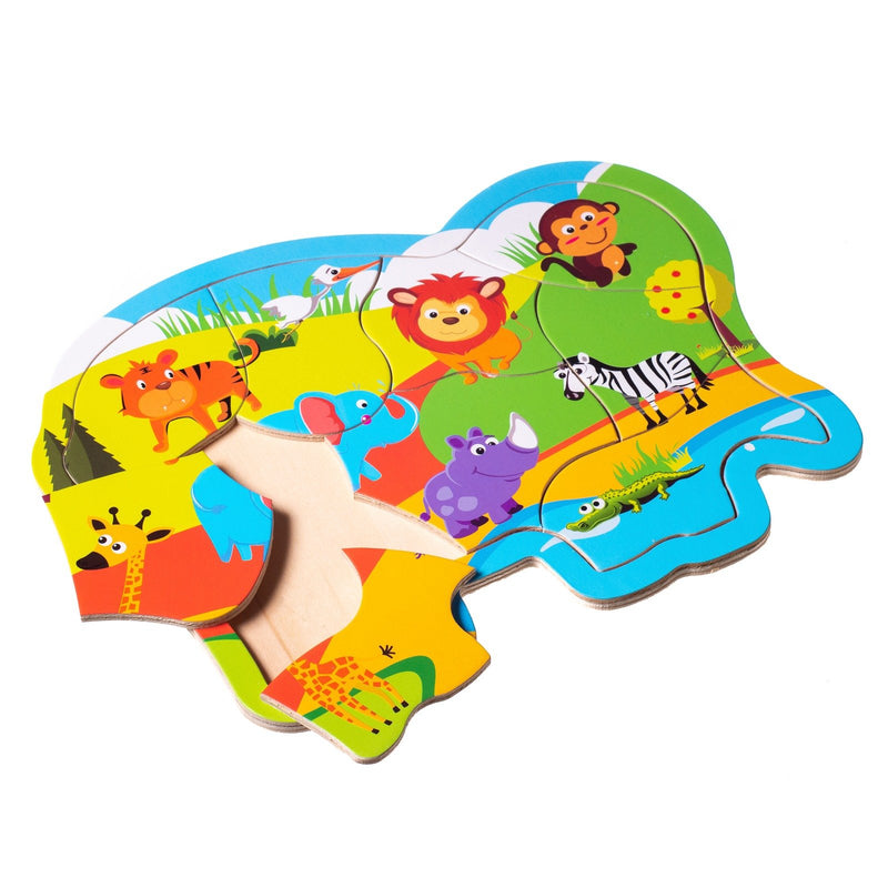 Eliiti Wooden Jigsaw Puzzle for Toddlers Kids 2 to 4 Years Old Safari Animals 9 Pcs