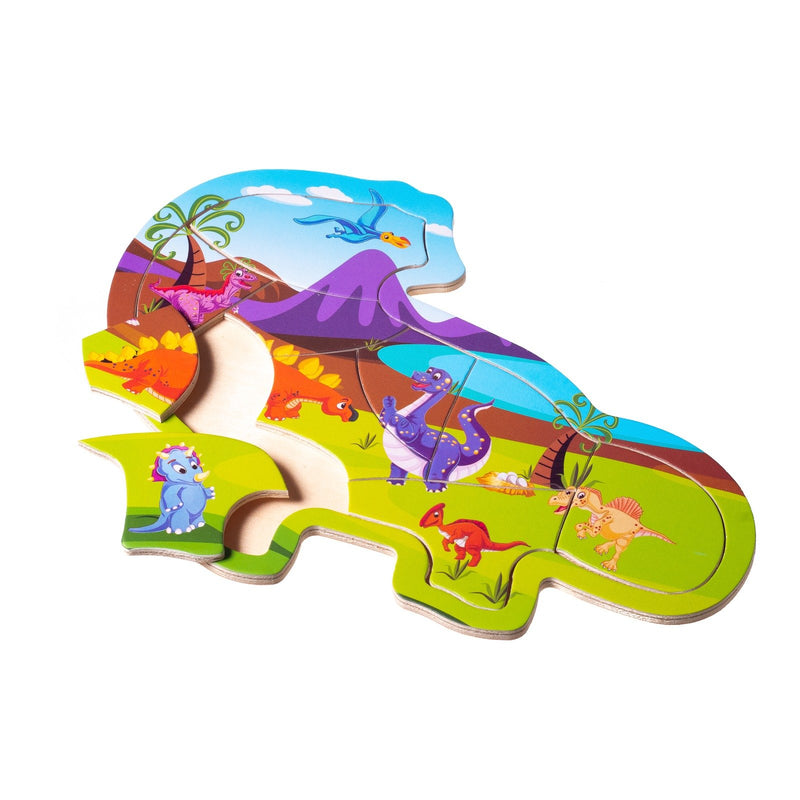 Eliiti Wooden Jigsaw Puzzle for Toddlers Kids 2 to 4 Years Old Dinosaurs 10 Pcs