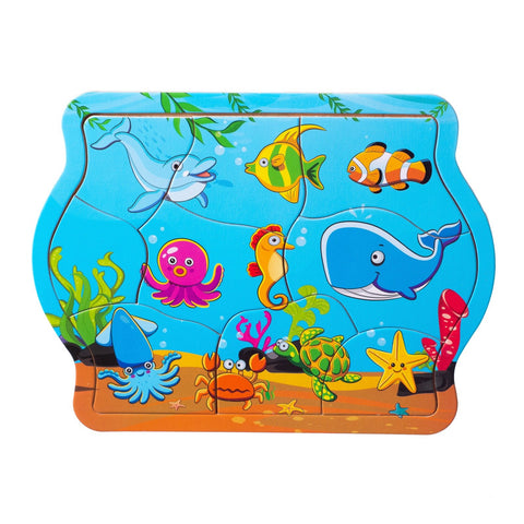 Eliiti Wooden Jigsaw Puzzle for Toddlers Kids 2 to 4 Years Old Sea Animals 9 Pcs