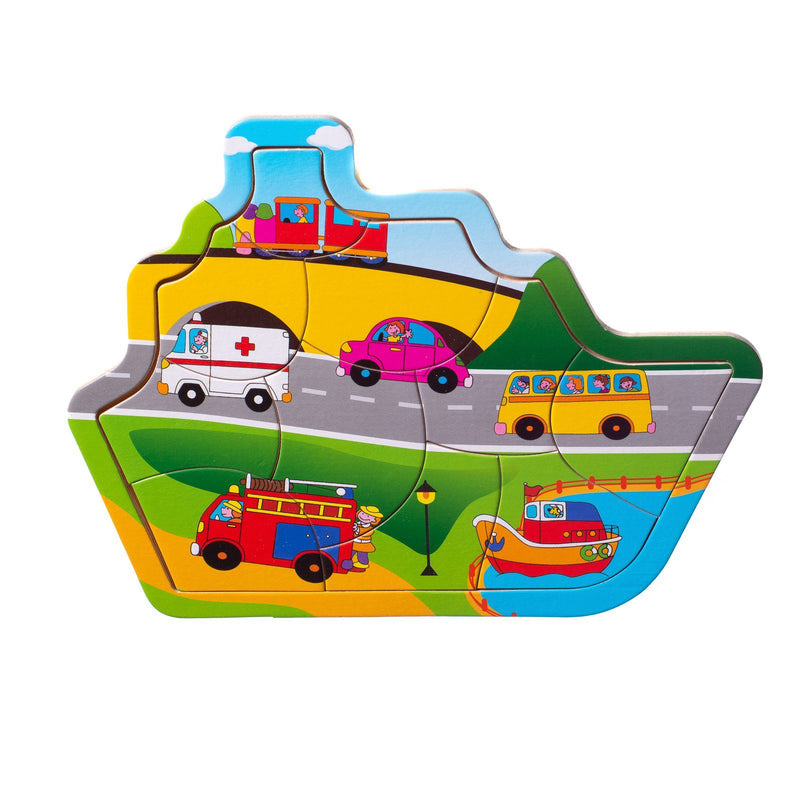 Eliiti Wooden Jigsaw Puzzle for Toddlers Boys Kids 2 to 4 Years Old Vehicles 10 Pcs