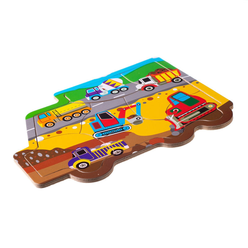 Eliiti Wooden Jigsaw Puzzle for Toddlers Boys Kids 2 to 4 Years Old Construction 8 Pcs