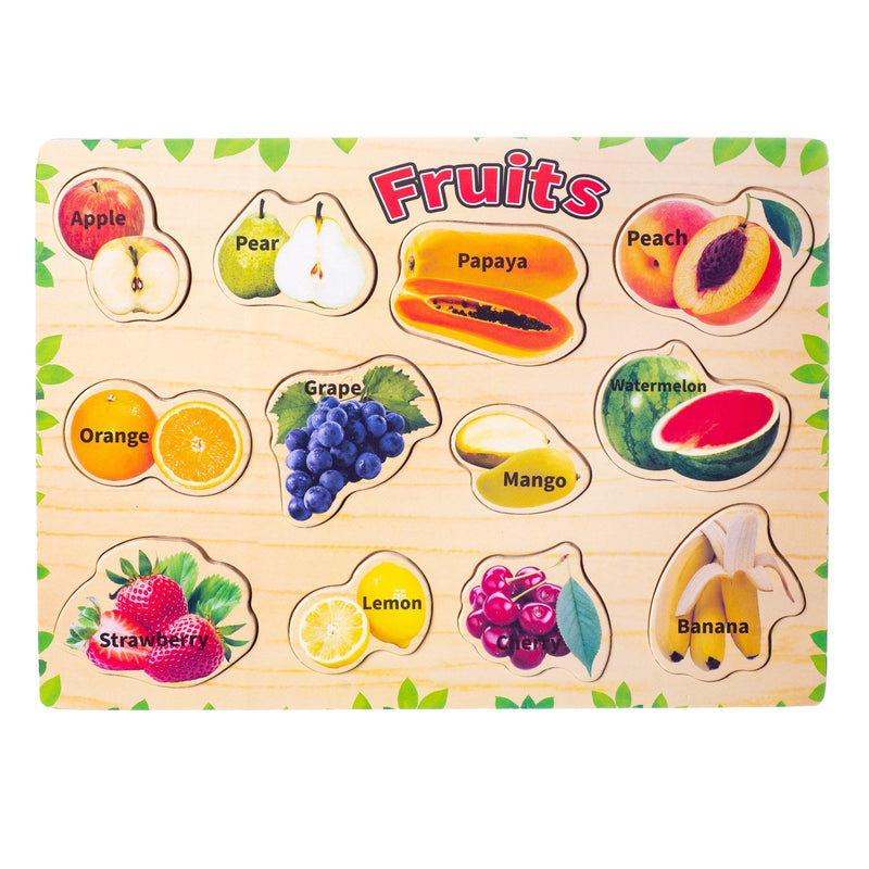 Eliiti Wooden Peg Puzzle for Toddlers Kids 3 to 6 Years Old Fruits 12 Pcs