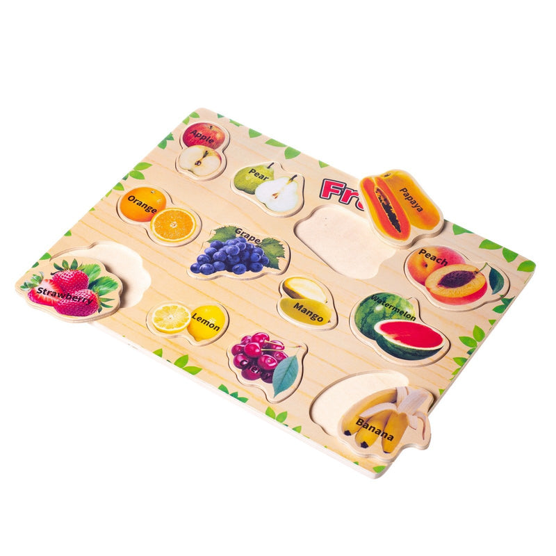 Eliiti Wooden Peg Puzzle Set for Toddlers Kids 3 to 6 Years Old Fruits Vegetables