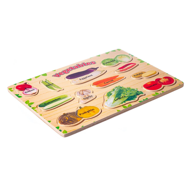 Eliiti Wooden Peg Puzzle for Toddlers Kids 3 to 6 Years Old Veggies 12 Pcs