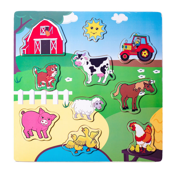 Eliiti Wooden Peg Puzzle for Toddlers Kids 2 to 4 Years Old Farm Animals 10 Pcs