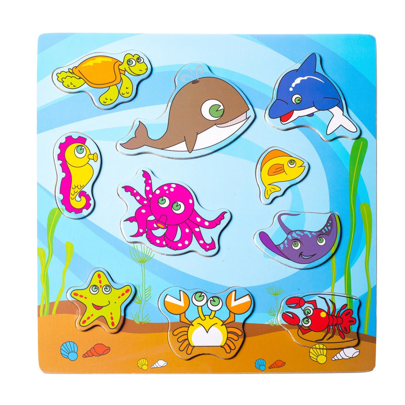 Eliiti Wooden Peg Puzzle for Toddlers Kids 2 to 4 Years Old Sea Animals 12 Pcs