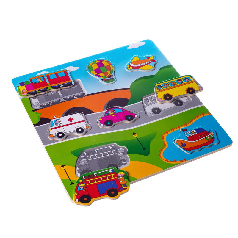 Eliiti Wooden Peg Puzzle Set for Toddlers Kids 2 to 4 Years Old Vehicles Farm Safari Sea Animals