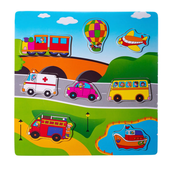 Eliiti Wooden Peg Puzzle for Toddlers Boys Kids 2 to 4 Years Old Vehicles 8 Pcs