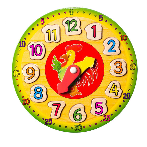 Eliiti Wooden Shape Sorting Clock Puzzle for Kids 3 to 6 Years Old Rooster 12 Pcs