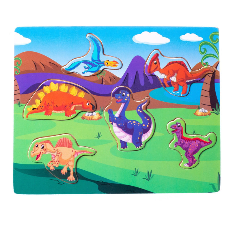Eliiti Wooden Peg Puzzle for Toddlers Kids 2 to 4 Years Old Dinosaurs 6 Pcs