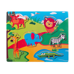 Eliiti Wooden Peg Puzzle for Toddlers Kids 2 to 4 Years Old Safari Animals 6 Pcs