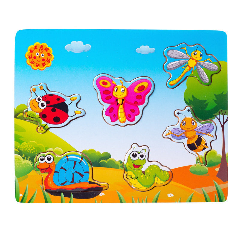 Eliiti Wooden Peg Puzzle for Toddlers Kids 2 to 4 Years Old Insects 6 Pcs