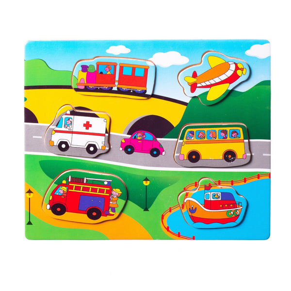 Eliiti Wooden Peg Puzzle for Toddlers Boys Kids 2 to 4 Years Old Vehicles 6 Pcs
