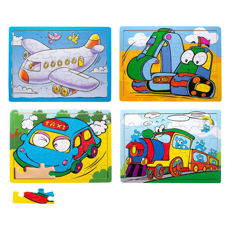 Eliiti Wooden Jigsaw Puzzle Set for Toddlers Boys 3 to 5 Years Old Taxi Train Airplane Excavator